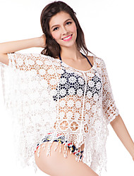 Women's Bandeau Cover-Up,Tassels Cotton White