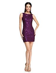 Lanting Bride® Corta / Mini Encaje Lentejuelas Brillos Y Estrellas Elegante Vestido de Dama de Honor - Funda / Columna Joya conEncaje