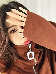 знак ~ будет дефицит торгового баланса шикарный темперамент квадратных пряжки воротник молния рубашка свитер женщина