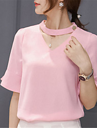 Fashion Peter Pan Collar 1/2 Sleeve Solid Color Chiffon Upper Outer Garment Daily Leisure Party Dating Occupation OL Shirt