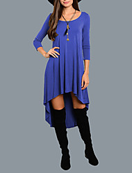 Women's Going out Casual/Daily Simple Street chic Pleated Loose DressSolid Round Neck Asymmetrical Long Sleeve