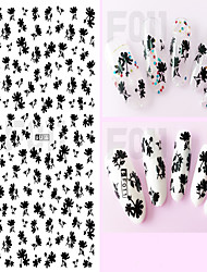 1pcs Black 3D Nail Art Tips Lovely Cartoon Cat Design Beautiful Flower&Bow-knot Decor Covenient Nail Stickers Nail Art Design   F011-018