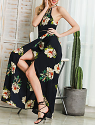 Women's Beach Holiday Vintage Sheath Dress,Floral Halter Maxi Sleeveless Polyester Spring Summer High Rise Micro-elastic Medium