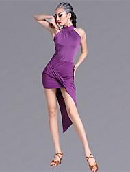 Danse latine Tenue Femme Spectacle Viscose 1 Pièce Sans manche Taille moyenne Robe