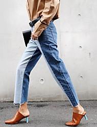versão coreana do novo cintura das calças de brim bordas retas feminino bateu retro costura cor era fina vasta maré calças perna selvagem