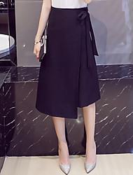 Women's OL Plus Size Elegent A Line Solid Long Skirts Work High Rise Asymmetrical