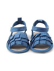 Sandals Summer First Walkers Fabric Dress Casual Flat Heel Ruffles Dark Blue