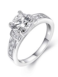 Ring Zircon Cubic Zirconia Copper Silver Plated Simulated Diamond Fashion Silver Jewelry Daily Casual 1pc