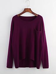 Damen Standard Pullover-Lässig/Alltäglich Einfach Solide Rot Schwarz Lila Rundhalsausschnitt Langarm Polyester Herbst Mittel