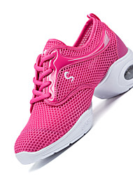 Non Customizable Women's Dance Shoes Fabric Fabric Modern Sneakers Chunky Heel Practice Black Pink White