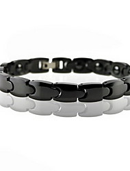 Men's Chain Bracelet Black Gemstone Alloy Magnetic Therapy Jewelry Black Jewelry 1pc