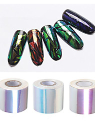 1roll 5cm*100m Holographic Shiny Laser Nail Transfer Foil Sticker Broken Glass
