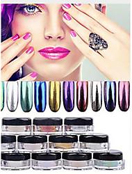 12 Farbe chrom Spiegel Pulver Goldpigment ultrafeinen Pulverstaub Nagel glänzt Nagel Pailletten Nagelkunstdekorationen 1g