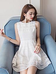 weibliche Spitze Chiffon-Kleid 2017 neue Frauen des Sommers&# 39; s weißen ärmel Rock schlank war dünn Rock ein Wort Rock