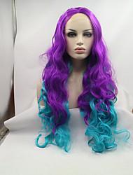 sylvia luz peruca dianteira do laço sintético roxo para perucas sintéticas resistentes azul Onda de calor ombre naturais