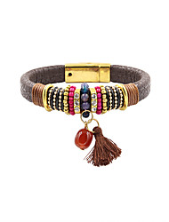Fashion Women Vintage Multi Charm Leather Bracelet
