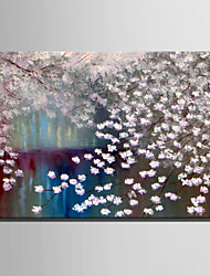 E-HOME Oil painting Modern Pink Flowers Pure Hand Draw Frameless Decorative Painting