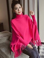 Model real shot Korean ladies high collar fringed hem bat sleeve sweater Girls long pullover