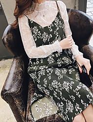 signer ressort de fronde écrasée nouvelle mousseline blouse mousseline imprimée robe suit +