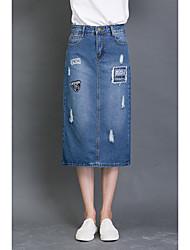 unterzeichnen neuen Frauen Hüfte Röcke der hohen Taille der Jeansrock der koreanischen Stickerei abgenutzten Split-Paket