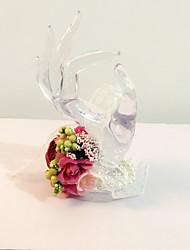 """Fleurs de mariage Rond Noué à la main Roses Petit bouquet de fleurs au poignet Mariage La Fête / soirée Fleur séchée 6.69""""(Env.17cm)"""