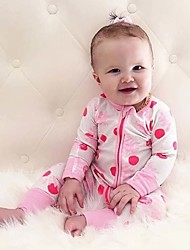 Baby Newborn Fashion Cute Thin Section Pink Dot Print Out Conjoined Rompers Clothes  Climb Clothes