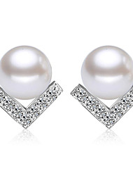 Earring 925 Sterling Silver Imitation Pearl Stud Earrings Jewelry Wedding Party Daily Casual Imitation Pearl 1 pair Silver