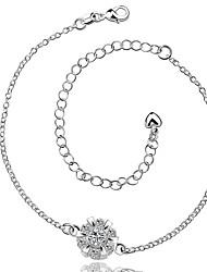 Bracelet de cheville/Bracelet Zircon Plaqué argent Alliage Amitié Mode Vintage Bohême Style Punk Hip-Hop Turc Simple Style Forme de Fleur