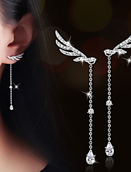 Drop Earrings AAA Cubic Zirconia Zircon Cubic Zirconia Gold Plated Alloy Wings / Feather Silver Champagne JewelryWedding Party Daily