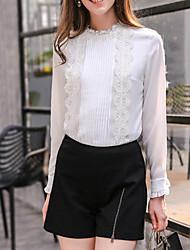 Camisa Social Casual Moda de RuaSólido Branco Poliéster Colarinho Chinês Manga Longa