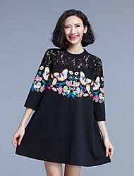 Sign spring new lace stitching large size women loose printing a word skirt dress fat mm