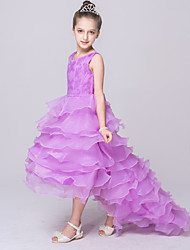 Ball Gown Asymmetrical Flower Girl Dress - Cotton Lace Polyester Jewel with Cascading Ruffles