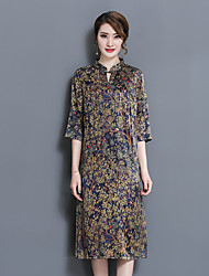 Women's Going out Casual/Daily Chinoiserie Loose Dress,Print Stand Knee-length ¾ Sleeve Summer Micro-elastic