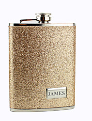 Personalized Stainless Steel 8-oz Glod Leather Hip Flasks