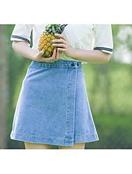 Spring and summer new Korean denim skirt was thin waist skirts big yards a word skirt package hip denim skirt children