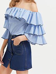 Ebay aliexpress nova camisa listrada manga coleira ruffled