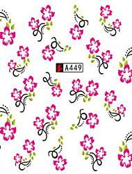 10pcs/set Fashion Sweet Style Nail Art Sticker Beautiful Pink Flower Vine Design Water Transfer Decals Nail Beauty Decoration A449