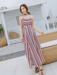 Sign new lace halter beach dress bohemian dress was thin stripe dress slit
