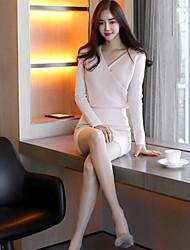 2016 Winter neue koreanische Version des rosa sexy Kreuz v-neck Kleides dünnen Pakethüfterock Aufsitzen