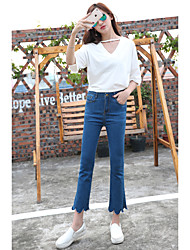 Spring and autumn influx of new Korean wave elastic waist pants embroidered micro speaker Slim thin nine points jeans