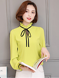 Sign Spring new Women Korean Slim thin bow tie chiffon shirt female long-sleeved shirt