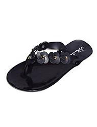 Women's Slippers & Flip-Flops Summer Comfort PU Casual Flat Heel Beading Walking