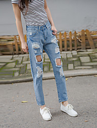 Sign new Korean female wild tide was thin wear white jeans hole nine