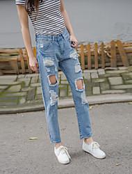 подписать новый корейский женский дикий прилив был тонкий носить белые джинсы отверстие девять