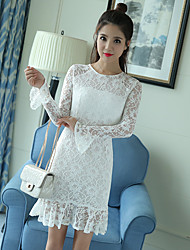 Model real shot 2017 spring models lace long-sleeved fishtail trumpet sleeves temperament Slim package hip beaded dress