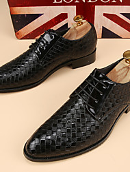Men's Oxfords Spring / Fall  Leather Office & Career Flat Heel Black / Blue