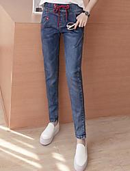 Cintura cintura rendas cintura elástica harém jeans perder estudantes magro fino lápis calças nove pontos