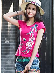 neue Frauen&# 39; s nationalen Windstickereikurzschluss-Hülse Baumwolle T-Shirt kann nicht Kugel