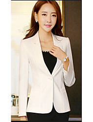 Women's Going out Casual/Daily Street chic Sophisticated Spring Blazer,Solid Shirt Collar Regular Polyester