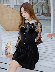 Sign 2017 new sexy ladies empty thread stitching lace bow velvet princess skirt dress skirt dress